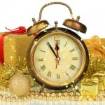 Composition of clock and christmas decorations isolated on